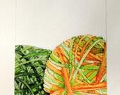 Watercolor - Yarn Balls- Original Painting - free shipping