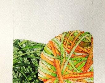 Limited Edition of Watercolor - Yarn Balls- Original Painting