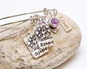 Sisters charm bangle bracelets stackable adjustable bangle bracelets