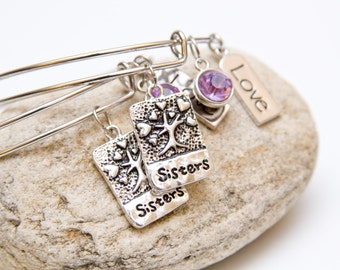 Sisters charm bangle bracelets, stackable adjustable bangle bracelets, bangle bracelet set, gift for sister, sister charm, sister bracelet