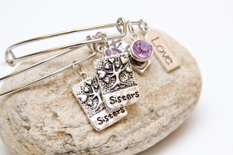 Sisters charm bangle bracelets stackable by harmonyandbliss
