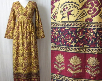 Indian Dress Block Print Boho Maxi Dress 60s 70s Ethnic Dress Cotton Long Dress with Sleeves