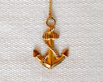 Gold Anchor Necklace. Vintage Brass Pendant. Beachy Jewelry. Navy Inspired. Long Gold Chain. Summer Sailing Memories. FREE Shipping in US