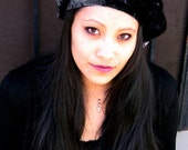 Black Crushed Velvet Beret by Kambriel - Brand New & Ready to Ship!