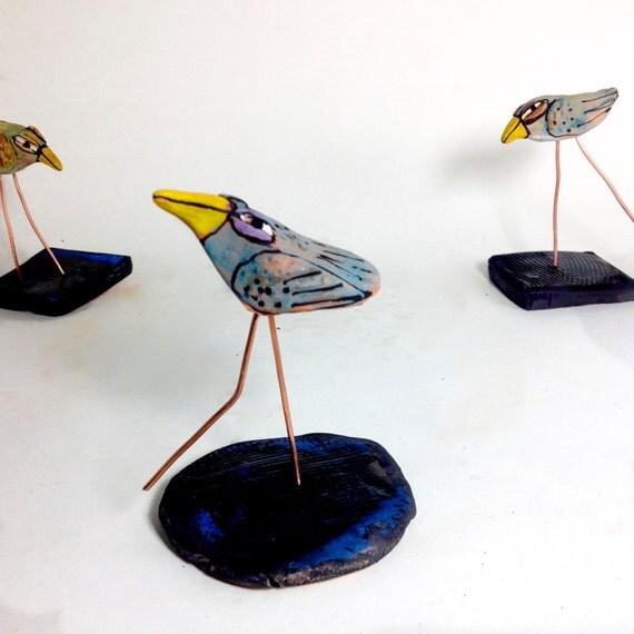"Dancing Love Bird, Handmade OOAK Clay bird, 4"" tall"