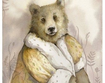 Bear Art - The Monarch -  watercolor print -The Illustrious Forest Collection