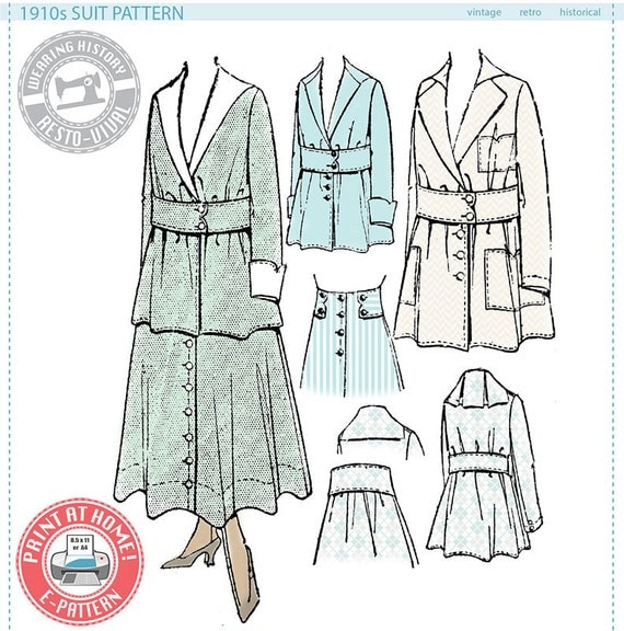 Edwardian Costumes – Cheap Halloween Costumes 1910s Suit- Circa 1916- Wearing History PDF Vintage Historical Costume Sewing Pattern $16.00 AT vintagedancer.com