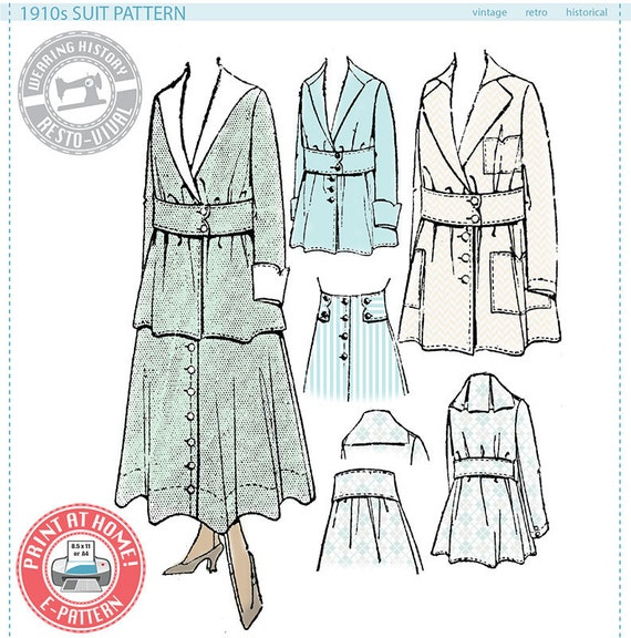 Edwardian Sewing Patterns- Dresses, Skirts, Blouses, Costumes E-Pattern-  1910s Suit- Circa 1916- Wearing History PDF Vintage Historical Costume Sewing Pattern $16.00 AT vintagedancer.com