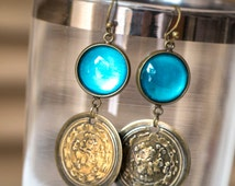 Turquoise Earrings with Brass Coins, Dangle Earrings , Drop Earrings, Antique Brass Earrings, Moroccan Coins Earrings