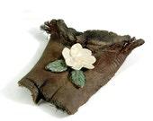 Ceramic Art -  Flower on Driftwood - Handmade Pottery Centerpiece - Stoneware Art - Ships Today