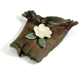 Ceramic Art -  Flower on Driftwood - Handmade Pottery Centerpiece - Stoneware Art - Ships Today
