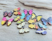 Butterfly Wood Button Supply Nature Sewing Knitting Add Lot of 10 Mix