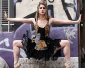 Short Patchwork Dress, Gothic Lolita babydoll dress, leopard print, black and white circus stripes,