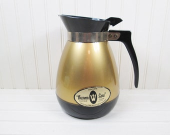 Vintage Thermo-Serv Coffee Pot Serving Pitcher Gold Black Plastic Server 6 Cup