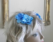 Paniz - Two Shabby Chic Blue Hydrangea Clippies for Pigtails, Pigbuns or Twins