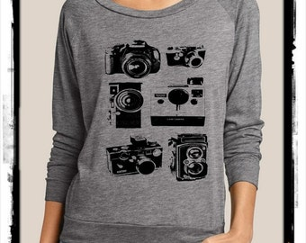 CAMERAS camera photographer Slouchy Pullover long sleeve Girls Ladies shirt screenprint Alternative Apparel