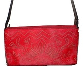 Vintage Enny leather Handbag, in red cow hide  and suede EXTREMELY RARE, Made in Italy