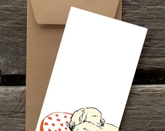 Labs on Heart Pillow - 8 Blank flat notecards and envelopes
