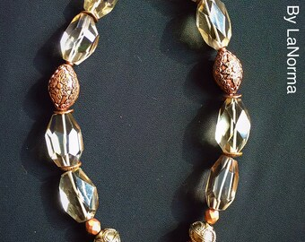 Faceted Smoky Quartz and Ornated Copper Bead Necklace