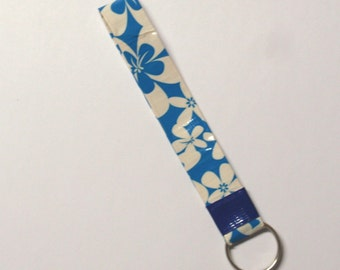 Blue floral key fob - duck duct tape