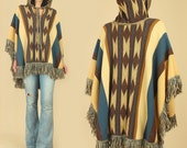 Vintage 70's Hooded Tribal Fringe Poncho HiPPiE Sweater 1970's free size s / m / l / xl