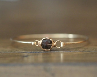 Gemstone Bangle Bracelet, Smoky Quartz Stacking , Bezel Wrapped in 14K Gold Filled , Rose , Sterling Silver , Chocolate Brown , Minimalist