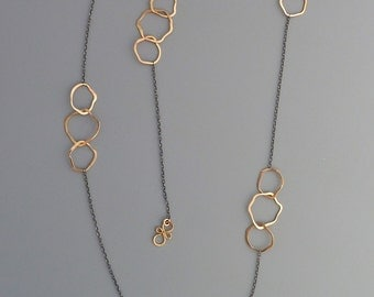 Long necklace with organic gold filled links, Rachel Wilder Handmade Jewelry