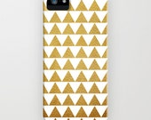 Golden Triangles phone case- gold-white-geometric design- modern- iphone 6 cover