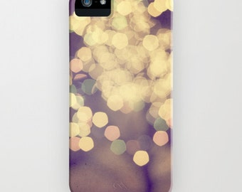 plastic phone case- Samsung Galaxy- bokeh and lights- yellow bright photography - Festive iphone Case