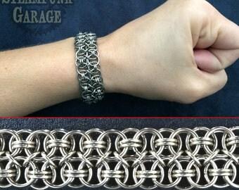 Bracelet - Double Coda Helm Weave - Steel Chainmaille