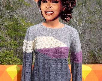 vintage 80's women's sweater 3D pom pom knit new wave boat-neck top Medium Small renee tener