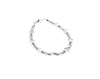 Bracelet rose pâle et transparent en cristal Swarovski et argent sterling 925
