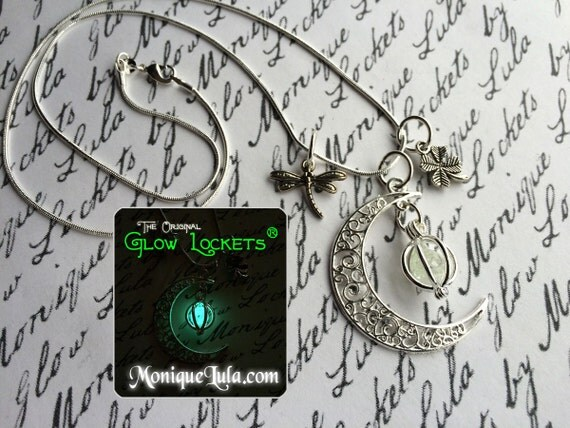 Lucky Irish Moon Glowing Dragonfly Shamrock Necklace with Free UV Light Charger
