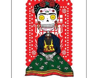 Frida Calavera Archival Art Print 8 x 10