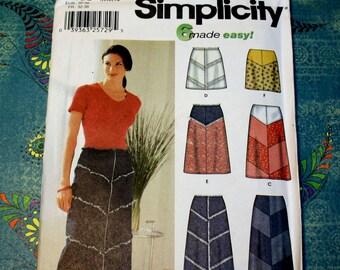 UNCUT  Simplicity 7179 Pattern, Six Versions of Skirts - Chevron Cut, Size 4, 6, 8, 10