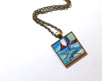 Art Pendant Necklace, FREE Shipping, Abstract Painting, Art, Original Painting - Wearable Art - Blue and Red Handpainted Pendant