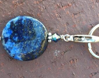 Pet Pendant/Keychain-Healing Lapis Lazuli gemstone/Swarovski Montana blue crystal