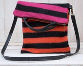 Striped Wool Fold Over Purse Wool Cross Body Bag Striped Wool Bag in Pink Orange and Black