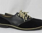 Vintage Saddle Shoes Flats Deadstock Velvet Leather Black Swing Rockabilly Mid Century Old Store Stock