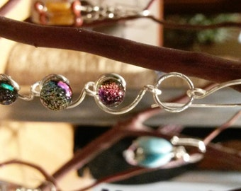 Swirly Sterling Silver Earrings With Colorful Cabachons
