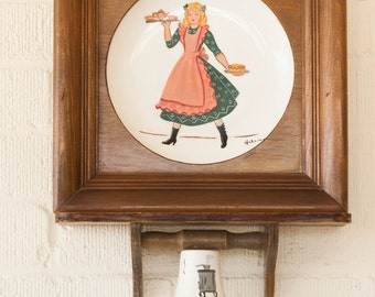 1950's Vintage Wood Frame Wall Hanging HELENE STUDIOS Plate with Bell