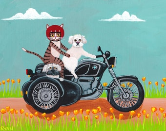 CAT Art California Poppies Motorcyle Ride Original Dog and Cat Folk Art Painting