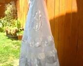 Wedding Gown Bridal Dress Bridesmaid Beach Hippie Beaded Vintage Lace Silver White Retro Beading Embroidered OOAK Designer elyse oRiGiNaLs