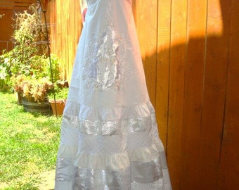 Wedding Gown Bridal Dress Bridesmaid Beach Hippie Beaded Vintage Lace Silver White Retro Beading Embroidered OOAK Designer elyse oRiGiNaLs
