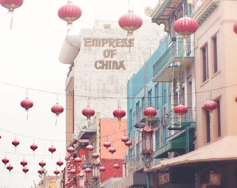 Chinatown San Francisco Photography, Chinese Lanterns Photo, Asian Decor Print, Travel Wall Art, Red, SF Art, Empress Of China
