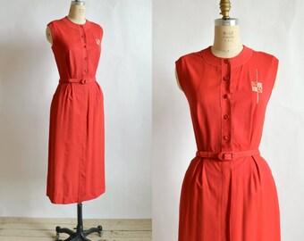 1940s Red Dress --- Vintage Tailor Town Dress