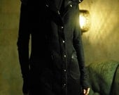 MASQ Menswear dieselpunk cyberpunk long vest in black with snap buttons and pockets with fake leather details. Size M