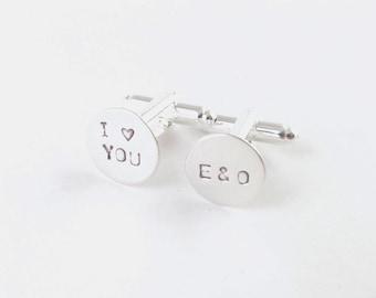 I heart you Initial Cufflinks, Hand Stamped Cufflinks, Wedding Cuff links, Custom Cufflinks, Personalized Cufflinks, silver or brass, copper
