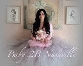 Wedding Tutu Women's Full Length Ballroom Style Silver Bridal Tutu Skirt with rose trim waist