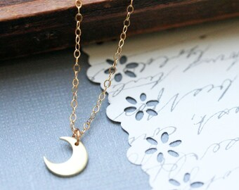 Crescent Moon Necklace Gold Crescent Moon Necklace Copper Moon Silver Moon 14 K Gold Fill Fine Chain